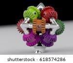 3d rendering gear assembly... | Shutterstock . vector #618574286