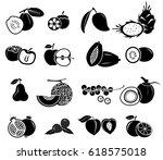 fruit vector icon set | Shutterstock .eps vector #618575018