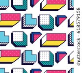 seamless pattern in 90 80 style ... | Shutterstock .eps vector #618579158