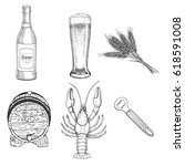 creative beer set with icons of ... | Shutterstock .eps vector #618591008