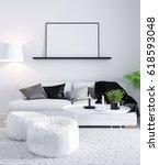mock up poster in living... | Shutterstock . vector #618593048