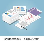 isometric heap of business... | Shutterstock .eps vector #618602984