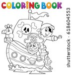 coloring book pirate boat theme ... | Shutterstock .eps vector #618604553