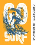 vector surf man t shirt pattern ... | Shutterstock .eps vector #618606050