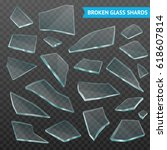 faceted thick glass broken... | Shutterstock .eps vector #618607814
