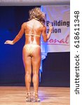 Small photo of MAASTRICHT, THE NETHERLANDS - OCTOBER 25, 2015: Female physique model Esther Blom shows her best back pose at championship on stage at the World Grandprix Bodybuilding and Fitness of the WBBF-WFF