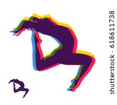 gymnast. silhouette of a dancer.... | Shutterstock .eps vector #618611738