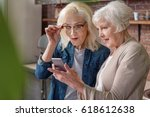 cheerful senior ladies using... | Shutterstock . vector #618612638