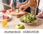 two old women preparing healthy ... | Shutterstock . vector #618614318