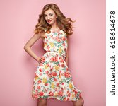 blonde young woman in floral... | Shutterstock . vector #618614678
