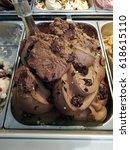 Small photo of Classic Italian gourmet gelato ice cream chocolate flavor.