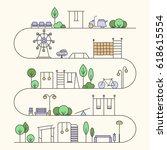 vector city activities... | Shutterstock .eps vector #618615554