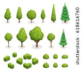 isometric set of park plants... | Shutterstock .eps vector #618616760