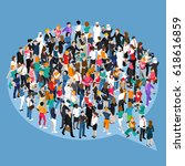crowd of different people... | Shutterstock .eps vector #618616859