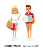 young people traveling and... | Shutterstock .eps vector #618618059