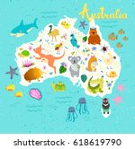 australia map with cute animals.... | Shutterstock .eps vector #618619790