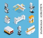 modern automated woodworking... | Shutterstock .eps vector #618619874