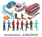 rescue service workers their...   Shutterstock .eps vector #618620018