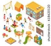 isometric kindergarten set of... | Shutterstock .eps vector #618620120