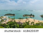 aerial view of tropical beach... | Shutterstock . vector #618620339