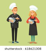 people cooking | Shutterstock .eps vector #618621308