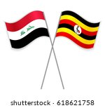 iraqi and ugandan crossed flags....   Shutterstock .eps vector #618621758