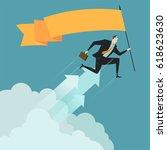 businessman hold flag above... | Shutterstock .eps vector #618623630
