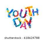 youth day. splash watercolor... | Shutterstock .eps vector #618624788