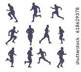 runner silhouette set | Shutterstock .eps vector #618629378