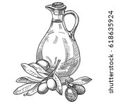 figure a decanter with olives... | Shutterstock .eps vector #618635924