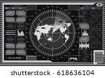abstract digital radar screen... | Shutterstock .eps vector #618636104