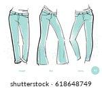 women's jeans fits. denim wear. ... | Shutterstock .eps vector #618648749