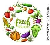 set of colorful sketch... | Shutterstock .eps vector #618648863