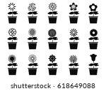 pot flower plants icon set | Shutterstock .eps vector #618649088