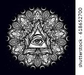 all seeing eye in ornate round... | Shutterstock .eps vector #618652700