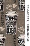 coffee  seamless pattern   hand ... | Shutterstock .eps vector #618654488