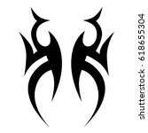 tattoo sketch tribal vector... | Shutterstock .eps vector #618655304