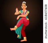 bharatanatyam or... | Shutterstock .eps vector #618657608