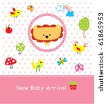 merry baby lion arrival | Shutterstock .eps vector #61865953