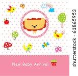 merry baby lion arrival | Shutterstock .eps vector #61865953