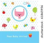 merry baby bunny arrival | Shutterstock .eps vector #61865956