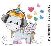 cute cartoon unicorn with... | Shutterstock .eps vector #618660950