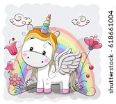 Cute Cartoon Unicorn And...
