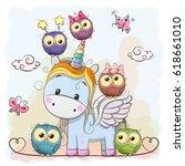 Cute Cartoon Unicorn Five Owls...