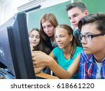 group of students working at... | Shutterstock . vector #618661220