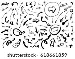 set of hand drawn arrows.... | Shutterstock .eps vector #618661859