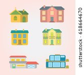 houses icons isolated country... | Shutterstock .eps vector #618664670