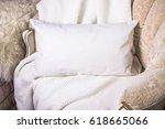 white lumbar pillow  cushion on ... | Shutterstock . vector #618665066