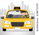 taxi driver driving in the city | Shutterstock .eps vector #618671570