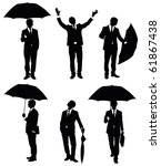 Set of silhouettes of a businessman with an umbrella. - stock vector